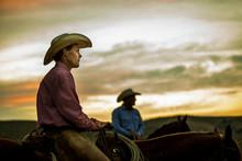 Cowboys At Sunset