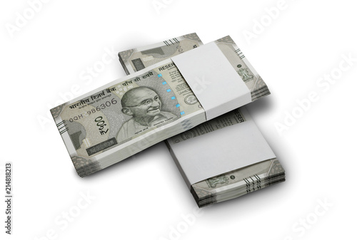 Fotografia  Indian Currency Rupee 500 Bank Notes Bundle on White Background