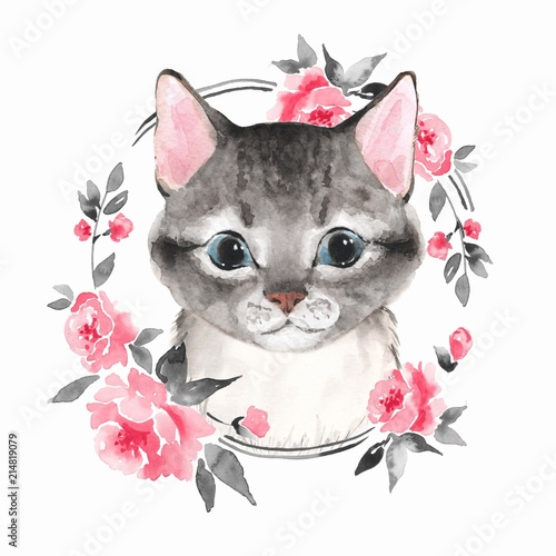 cat-and-flowers-watercolor-illustration