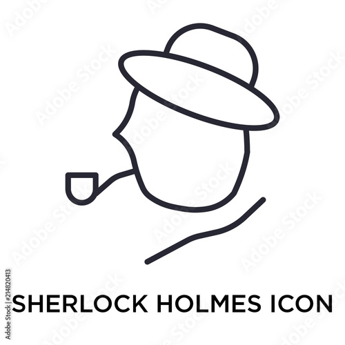 Valokuva  Sherlock holmes icon vector sign and symbol isolated on white background, Sherlo