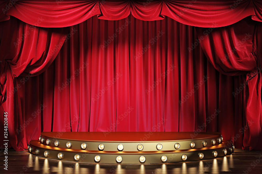 Fototapeta Empty theater stage with red velvet curtains. 3d illustration