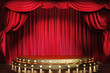 canvas print picture - Empty theater stage with red velvet curtains. 3d illustration