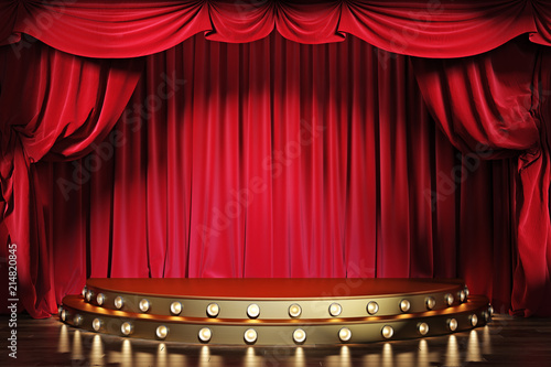 Fotografía  Empty theater stage with red velvet curtains. 3d illustration