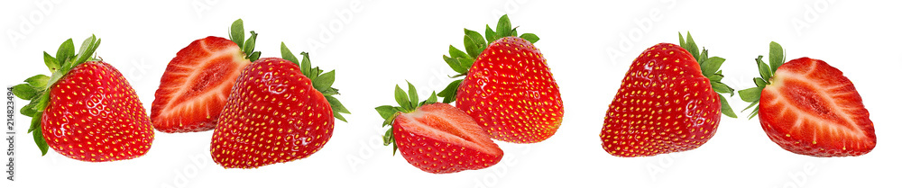 Fototapety, obrazy: Fresh strawberry isolated on white background with clipping path