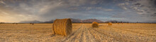 Panoramic Views Of A Brilliant Sunset Over A Meadow With Big Hay Bales.