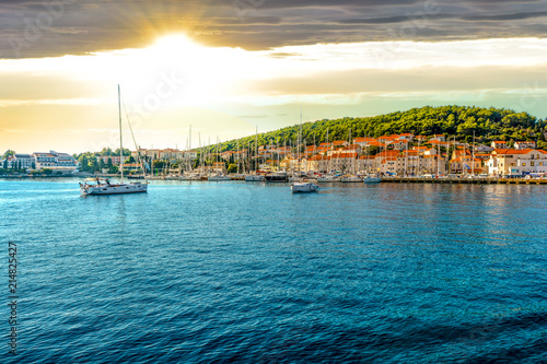 Valokuva  Boats in the harbor of the Croatian coastal city of Hvar, one of the many Island