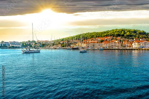 Fototapeta Boats in the harbor of the Croatian coastal city of Hvar, one of the many Island