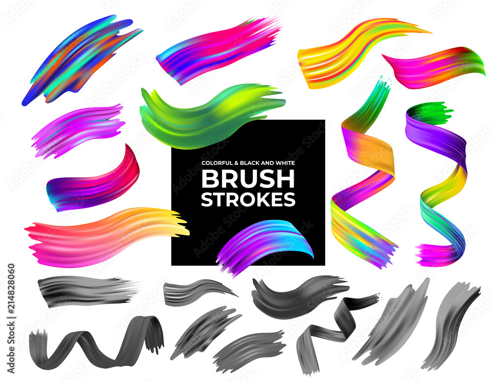 Fototapeta Set of colorful and black and white brush strokes oil or acrylic paint design element. Creative concept of digital painted color stroke. Vector illustration. Isolated on white background