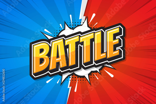 Canvas Print Battle background poster comic speech bubble. Vector illustration