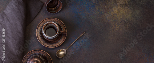 Turkish Coffee on the Dark Background Retro Style Two Bronze Cups
