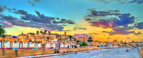Poster Orange View of Ghardaia, a city in the Mzab Valley. UNESCO world heritage in Algeria