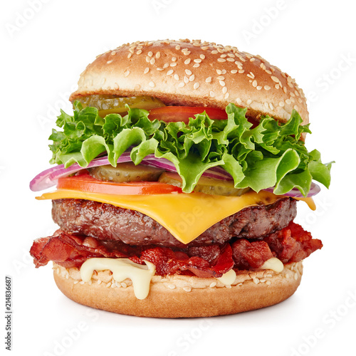 Fototapeta big fresh burger with cheese and bacon isolated on white background obraz