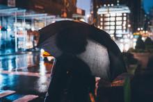 Illuminated Umbrella In New York