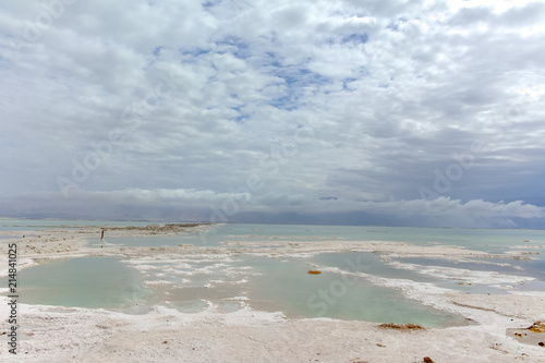 Lowest salty lake in world below sea level Dead sea, full of