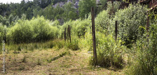 Vászonkép `Schindler`s List` filming location – the electric fence poles in the Liban quarry