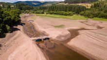 Aerial Drone View Of A Dried Up Reservoir During A Drought In The UK (Llwyn-On Reservoir)