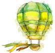 Green Hot air balloon background fly air transport illustration. Isolated illustration element.