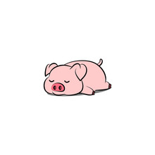 Lazy Pig Sleeping Cartoon, Vec...