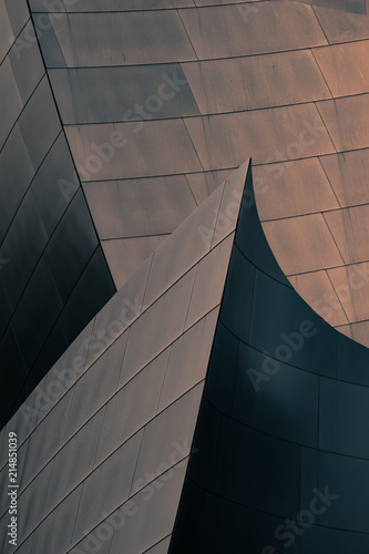 Spoed Foto op Canvas Theater Architectural abstract of a metal clad building in Los Angeles, California