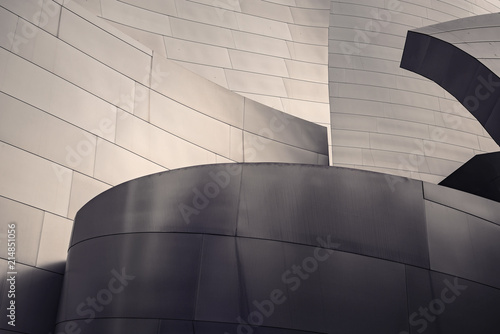 In de dag Theater Architectural abstract of a metal clad building in Los Angeles, California