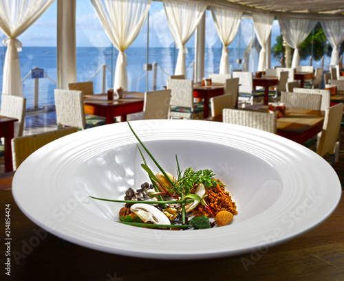 Foto op Aluminium Buffet, Bar Haute cuisine at the beach restaurant