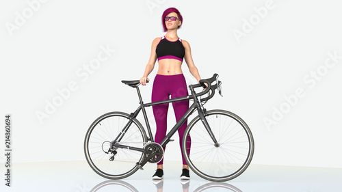 Foto op Aluminium Fietsen Girl with a bicycle, athletic woman in sports outfit standing next to a bike on white background, 3D rendering