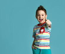 Boy In Blue Yellow Stripes Tsh...