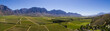 canvas print picture - Aerial photo over the bright green vineyards of the Slanghoek valley near Worcester in the Western Cape of south africa