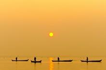 Fishermen Fishing On Lake Vemb...