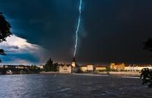 Vltava River During A Thunderstorm And Rain, Mala Strana, Prague, Czech Republic, Europe