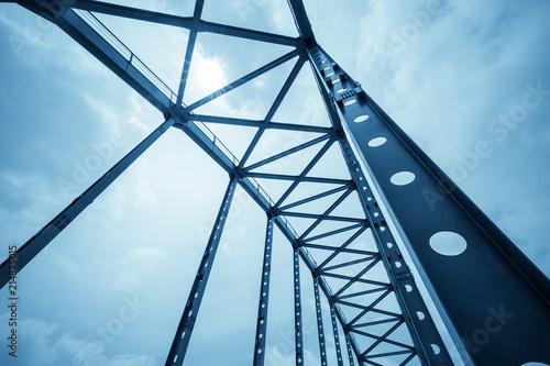 Obraz na plátně  steel structure bridge closeup
