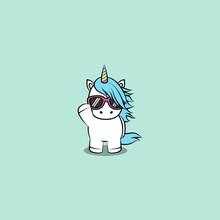 Cute Unicorn With Sunglasses Cartoon, Vector Illustration