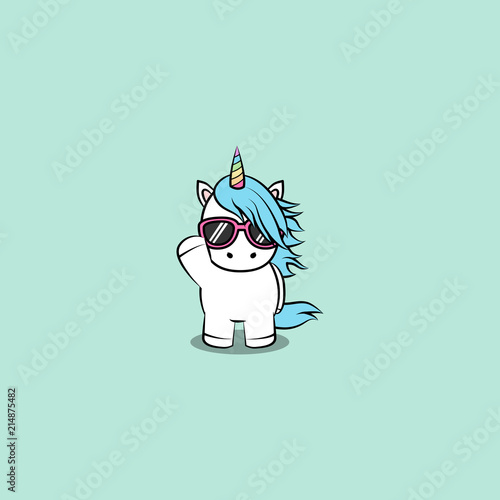 Fotografia Cute unicorn with sunglasses cartoon, vector illustration