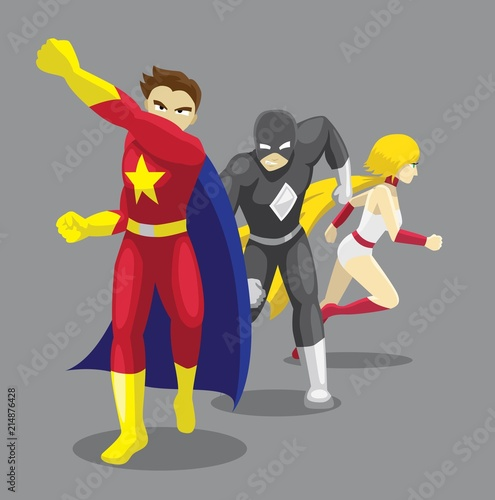 Superhero Set Poses Cartoon Vector Illustration 11 Fototapet