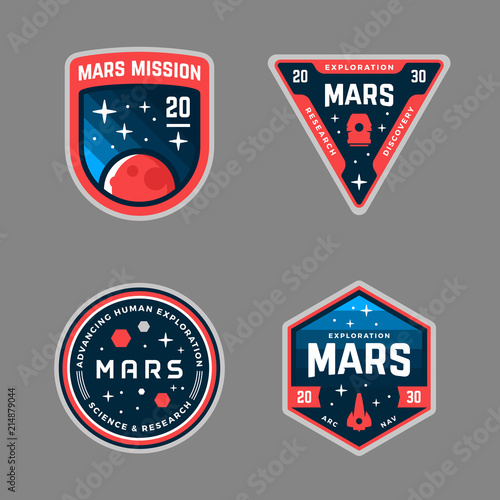 Mars mission patches Wallpaper Mural