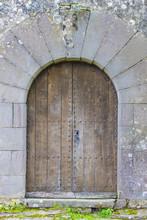 Old Wooden Door In A Medieval...