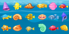 Cartoon Vector Game Icons With Seashell, Colorful Coral Reef Tropical Fish, Pearl, Background Underwater, For Match Three Game, Apps On White Background. Isolated Elements.