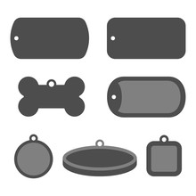 Set Of Dog Tag Id Badges. Identification Labels