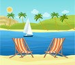 Two deck chairs on the beach. Tropical landscape. Vector flat style illustration