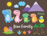 Fototapeta Dinusie - Cute dinosaur family, dinosaur baby, egg and footprint vector illustration.