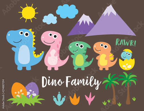Cute dinosaur family, dinosaur baby, egg and footprint vector illustration Billede på lærred