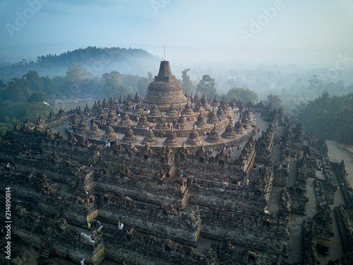 Borobudur Buddhist Temple Drone View