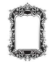 Baroque Mirror Sophisticated Frame. Vector French Luxury Rich Intricate Ornaments. Victorian Royal Style Decors