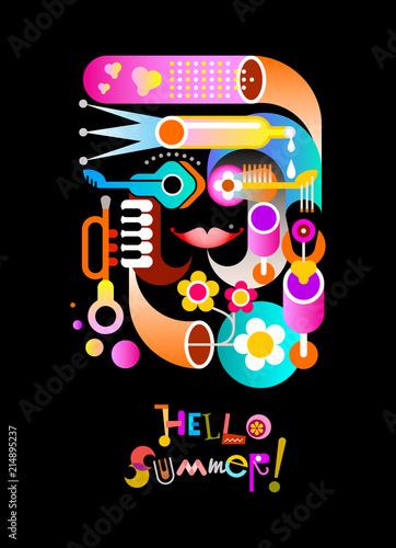 Staande foto Abstractie Art Hello Summer vector design