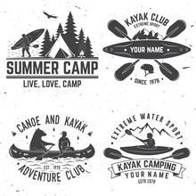 Set Of Kayak Club Badges. Vector Illustration.