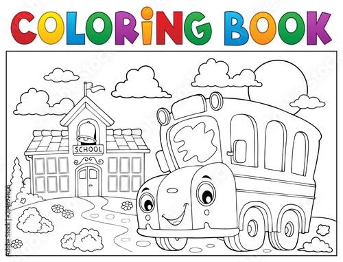 Foto op Plexiglas Voor kinderen Coloring book school bus theme 6