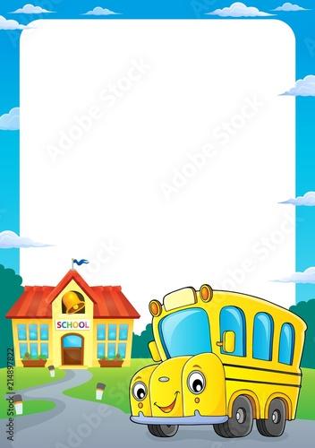 Deurstickers Voor kinderen School bus thematics frame 1
