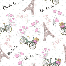 Paris Theme Seamless Pattern With Bicycle And Eiffel Tower