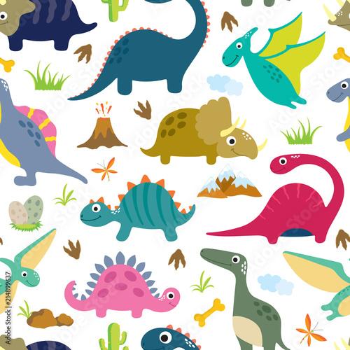 fototapeta na lodówkę Cute dino seamless pattern