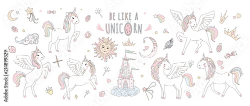 Unicorn vector sweet cute illustration. Magic fantasy design. Cartoon rainbow animal isolated horse. Fairytale unicorn print poster.